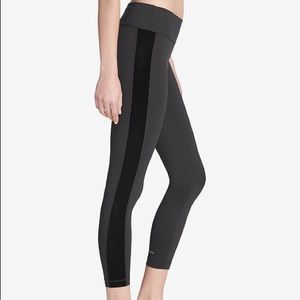 DKNY Black Sport Velvet-stripe Ankle Leggings